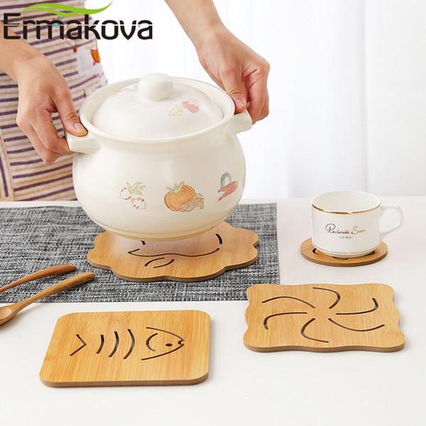 ERMAKOVA 6 Inch Bamboo Heat Resistant Trivet Mat Hot Pot Holder Teapot Trivet Pad Coaster Table Placemat Coffee Cup Holder