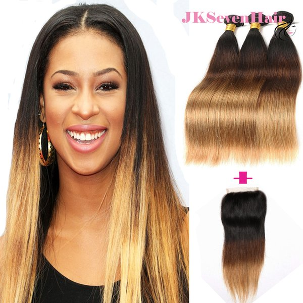 Virgin Brazilian Hair Extensions Ombre 1B 4 27 Straight 3PCS With Closure Three Tone Dark Roots Brown Blonde Malaysian Human Hair Weaves
