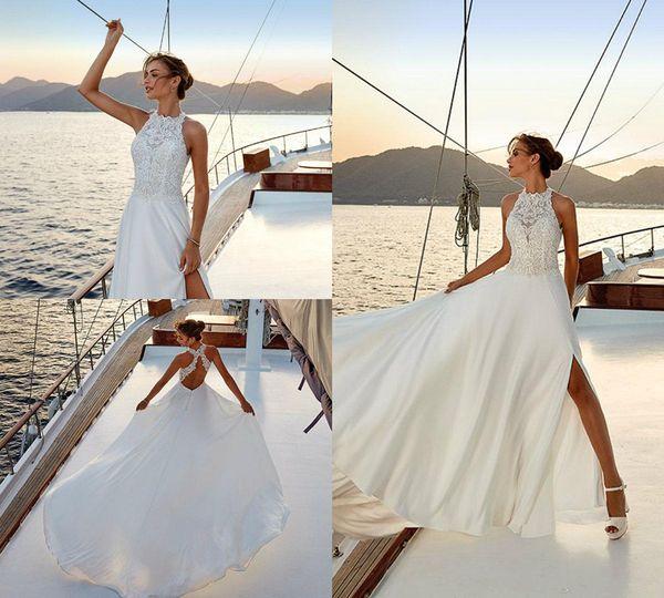 Высокие боковые разрезы Летние свадебные платья Иллюзия на лифе Холтер Кружевной топ с открытой спиной Свадебные платья Свадебное платье