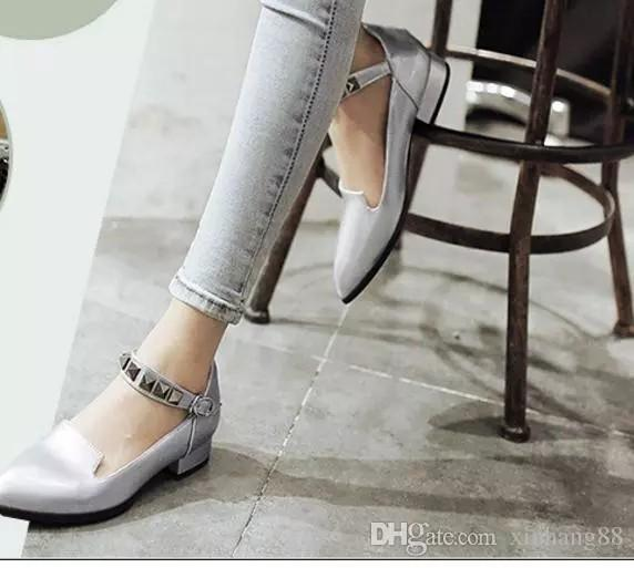 2016 single shoes Female pointed low heel shoes