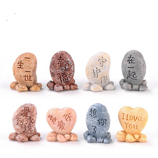Resin Craft Love Stone Lettering Stone Perfect Centerpieces Gift for Wedding Wedding Decoration Succulent Plant Pot Landscape Accessory