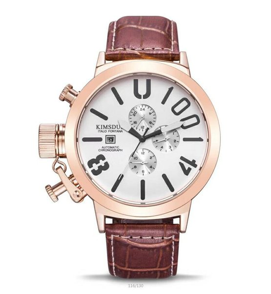 Top Quality New Luxury watch Mechanical automatic Auto Data Men's Wristwatch Leather Fashion Male watch B6