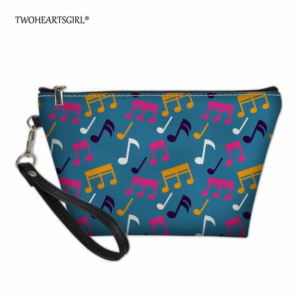 wholesale Classic Music Notes Travel Cosmetic Bag Makeup Case for Women Small Leather Women Make Up Box Travel Wash Bags