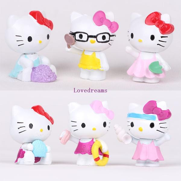 6pcs/Set Kawaii Hello Kitty Figures Toys Lovely Summer Style PVC Action Figure for Kids Phone Accessories