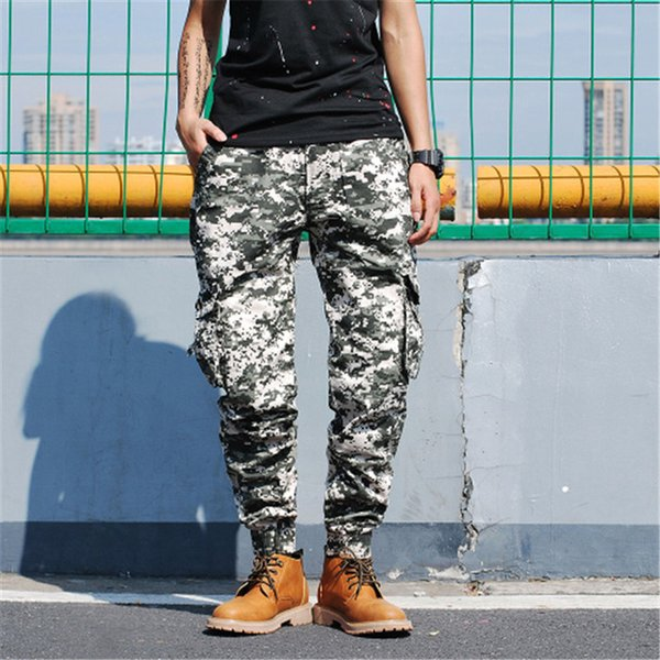 Camouflage Multi Pockets Cargo Pants Men New Fashion Casual Loose Male Pants Cotton Straight Trousers Full Length