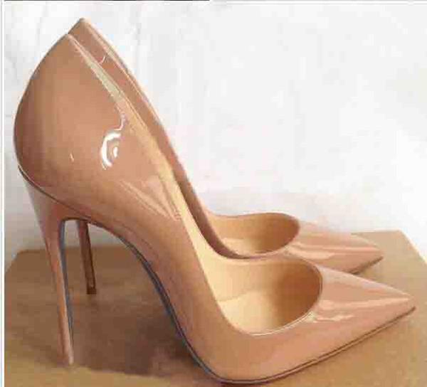 Venta al por mayor de las mujeres Negro de piel de oveja Nude Patentes de cuero Poined Toe Mujeres Bombas, Moda Red Bottom High Heels Shoes for Women