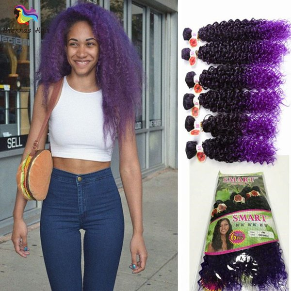 synthetic high temperature 6pcs/lot synthetic hair bundles 14 16 18inch synthetic hair extension ombre brown ombre purple for black woman