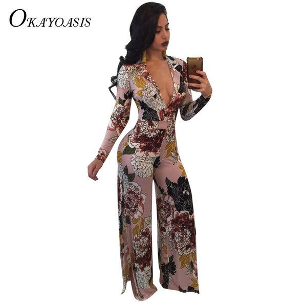 OKAYWomen Long Print Jumpsuits Spring Fashion Sexy Deep V Neck Side Split Wide Leg long Pant Casual Jumpsuit Plus Size