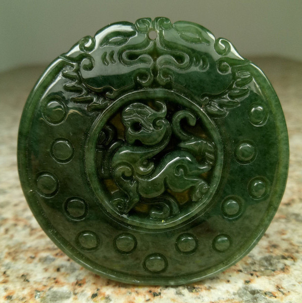 Certified Oily Green Natural A Jade jadeite Carved Pi Xiu Archaize style Pendant