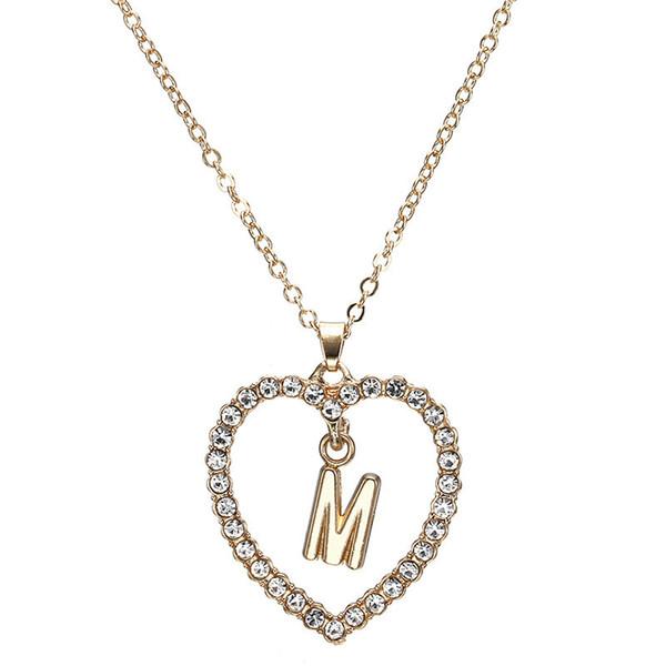 Новый Позолоченный Заявление Ожерелье Любовь Сердце NecklacesPendants Сияющий Горный Хрусталь Сердце Письмо Ожерелье Bijoux Для Женщин Партии Подарки