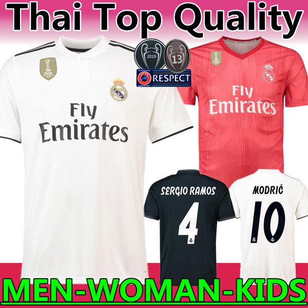 Thailand quality 2018 2019 new real Madrid #10 MODRIC Marcelo soccer jersey BALE ASENSIO ISCO RAMOS champions league home Third Kit jersey