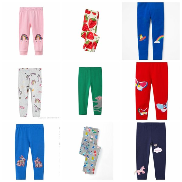 9 colors Kids Unicorn Skinny Leggings Cotton Flower Strawberry Printed Clothing for Girls Full Length Pants Slim Pencil Trousers MMA334