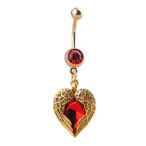 Charming Body Piercing Jewelry Heart Wings Shaped Belly Red Rhinestones Inlaid Navel Bell Button Ring
