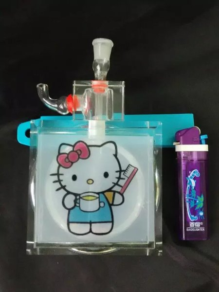 Hello Kitty water bottle Wholesale Glass bongs Oil Burner Glass Water Pipes Oil Rigs Smoking Free