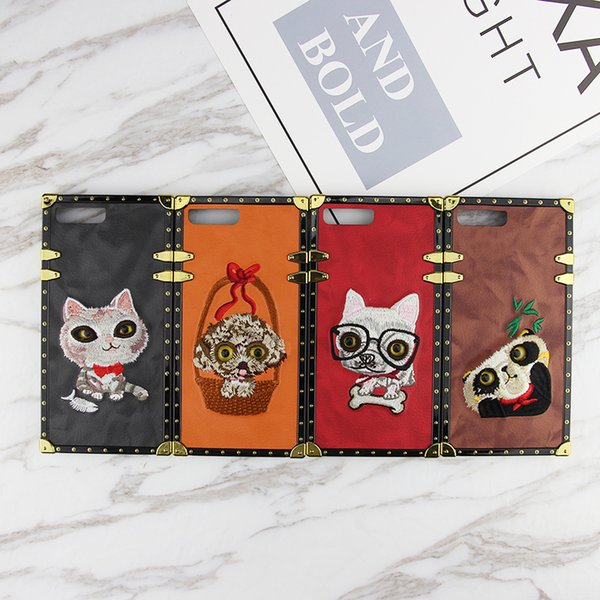 Hot sale For Frame PINK 2018 Cover Fashion Design Cute Adorable pet Glitter 3D Embroidery Love Pink Phone Case For iPhone X 8 7 6 plus