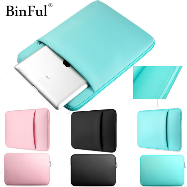 BinFul Soft Sleeve Laptop Bag Case For Macbook Air Pro Retina 11 13 15 15.6 12 14'' Zipper Bags For Mac Book Carry Pouch Cover