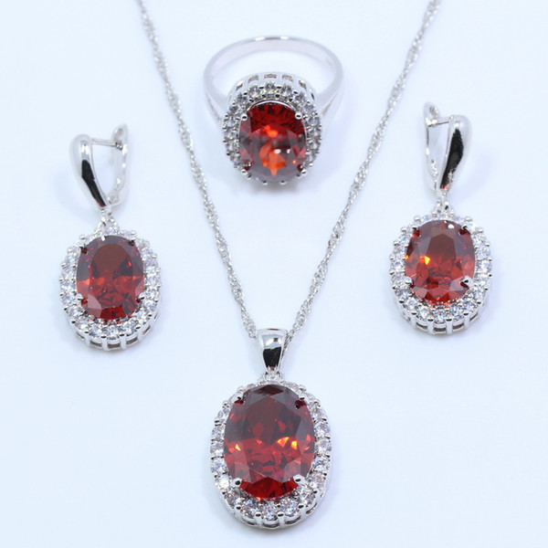 intera vendita superiore qualità rosso granato 925 sterling silver wedding set di gioielli da sposa per le donne orecchino anello pendente della collana scatola regalo libero T04