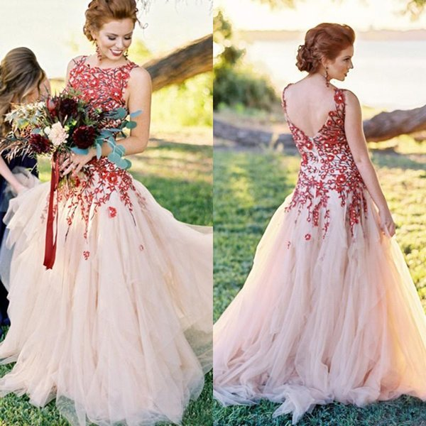 Romantic 2018 Red Embroidery Beads Wedding Dresses Champagne Tulle Ruched Country Garden Bridal Gowns Vintage Custom Made From China EN2061