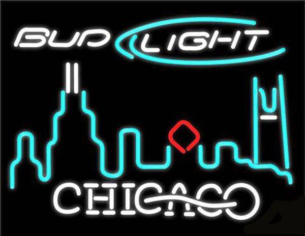 "Bud Light Chicago City Neon Light Sign Handmade Real Glass Tube Custom Beer Bar KTV Club Pub Display Neon Signs 24""X20"""