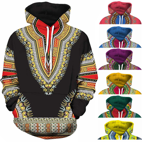 top popular Spandex Bazin Riche Traditional Print Pullover African Dashiki Hoodie 3D Pattern Red Yellow Purple Black Orange Blue Green 2021