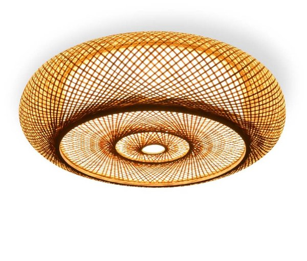 Hand-woven Bamboo Wicker Rattan Round Lantern Shade Ceiling Light Fixture Rustic Asian Japanese Plafon Lamp Bedroom Living Room LLFA