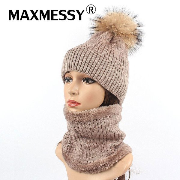 MAXMESSY Winter Hat Scarf Set For Women Girls Warm Rabbit Fur Knitted Thick Beanies Ring Scarf Raccoon Fur Pompoms Caps MH143