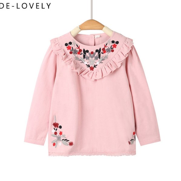 a636e720c2be Little Kids Blouse Girls Floral Embroidery Princess Tops Children V ...
