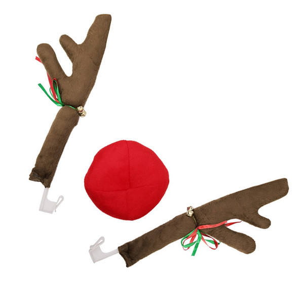 Reindeer Christmas Decor Car Vehicle Nose Horn Costume Set Christmas Reindeer Antlers Red Nose Ornaments Car decoration