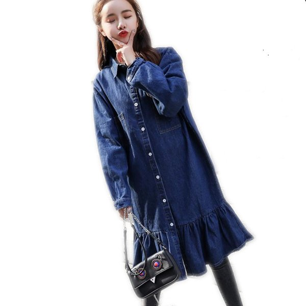 2c6a2ca41a68a 2018 New Fashion Women Spring Autumn Medium-Long Jeans Jacket Coat Female  Plus Size 4XL