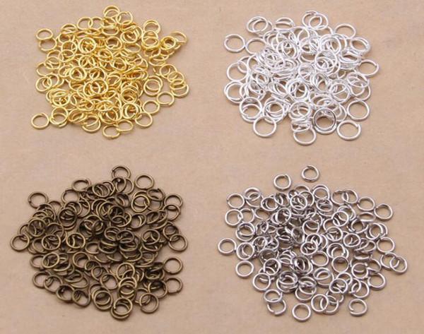 1000 Unidades / lote 5 mm Anillos de Salto Abierto Joyería Hallazgos DIY para Gargantilla Collares Fabricación de Pulseras, 4 Selecciones de Color (Diámetro: 0.7 mm)