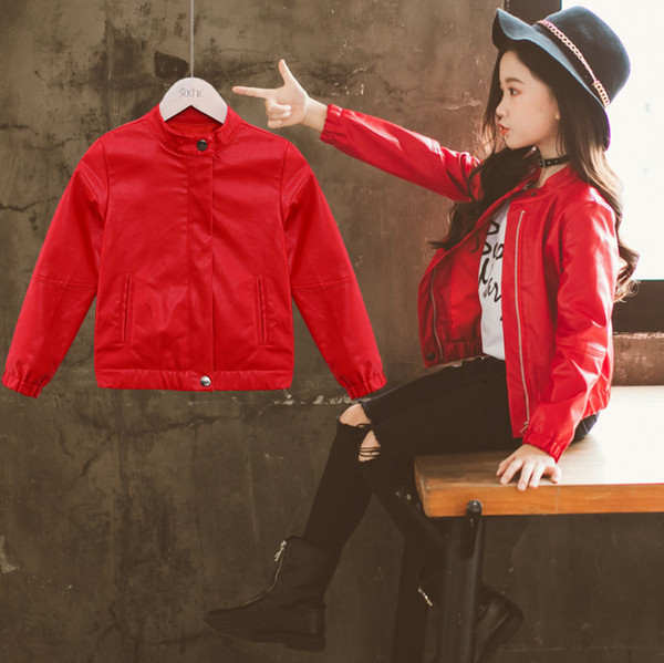 Girls PU leather jacket fashion kids round collar long sleeve outwear children double pocket zipper casual coat chirstmas clothing F2098