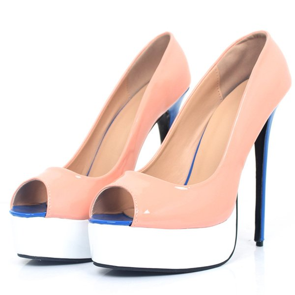 Women Pumps Wedding Shoes 16CM Super High Heel Platform Peep Toe Sexy Patent Leather 2018 Fashion Shallow Women Party Shoes