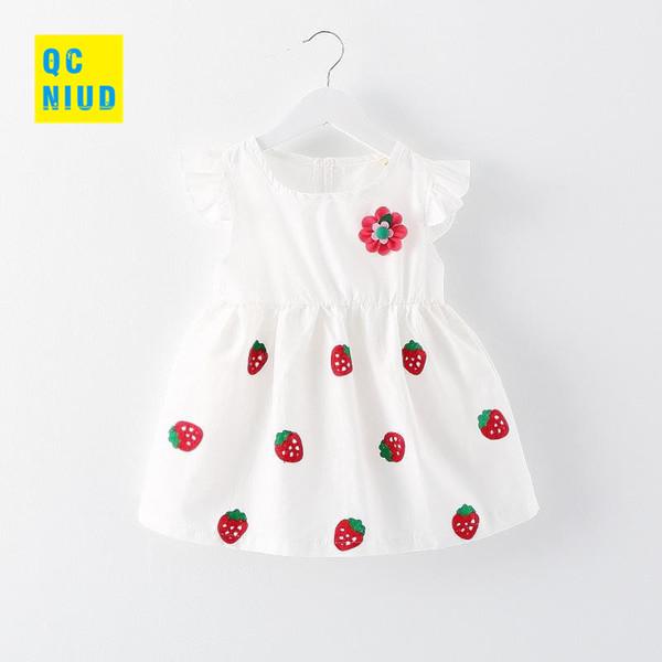 QCNIUD Strawberry Baby Girls Dress 2018 Summer Printed Flower Baby Dress Toddler Girls Clothing Newborn Princess Dresses Clothes