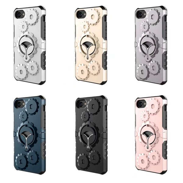 Newest for Iphone 6/7/8 Plus Cellphone Case Mounter Dual Layer Gear wheel bracket combo phone case Armor Phone Case