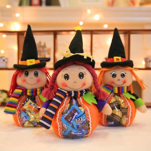 Funny Halloween Gift Bags Cute Witch Doll Candy Bag Creative Trick or Treat Bag Goodie Storage Holder for Kids Holiday Supplies