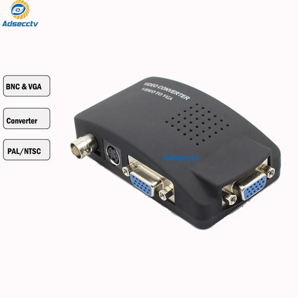 TV BNC AV / S S-video to VGA Converter TV Signal Adapter Converter S Video to VGA Switch Conversion Digital Box Support 1080P