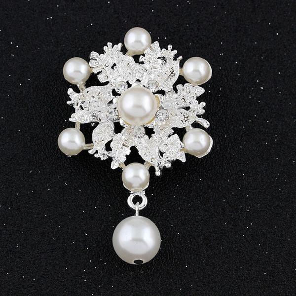Bride Engagement Fashion Imitation Pearl Brooches Rhinestone Flower Gold Silver Black Women Brooches Gift For Wedding