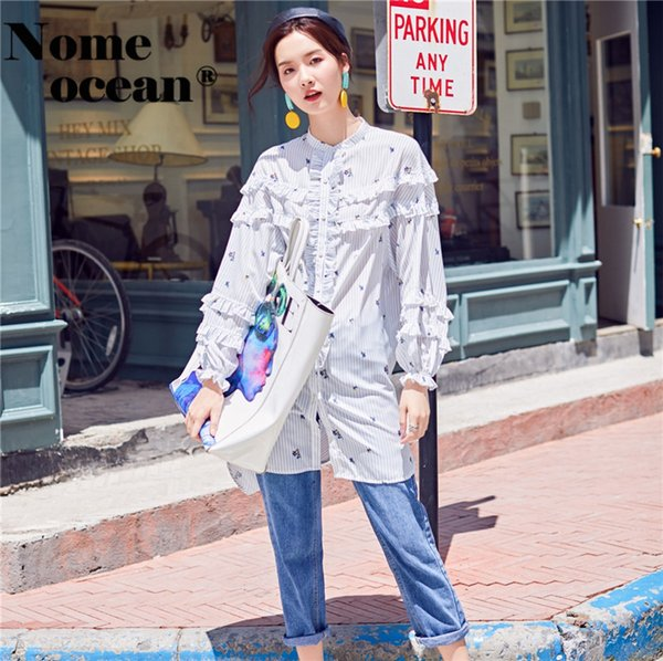 Pleated Ruffle Trim Low-high Sweep Women's Shirts Slit Side Casual Striped Blouses 2018 Autumn Floral Print Shirt M18080707