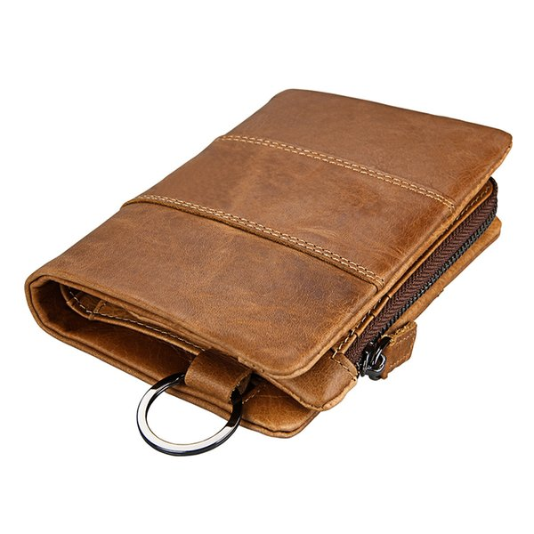 Luxury enuine Leather Men Wallets Coin Pocket Zipper Hasp Leather Wallets Organizer Purse  Holders Money Bag