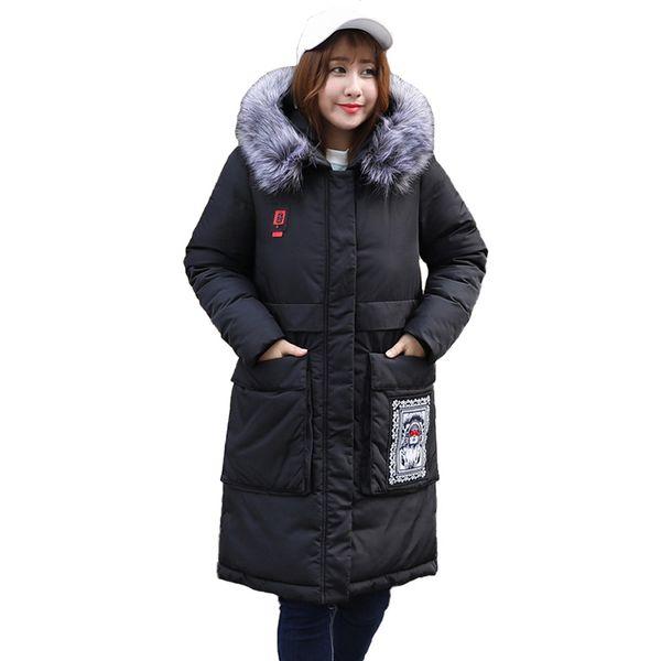 Súper Gran tamaño 8XL Winter Parkas Mujeres Abajo chaqueta de algodón Espesar Abrigo Cuello de piel Tops con capucha Mujer Abrigos largos sueltos de algodón