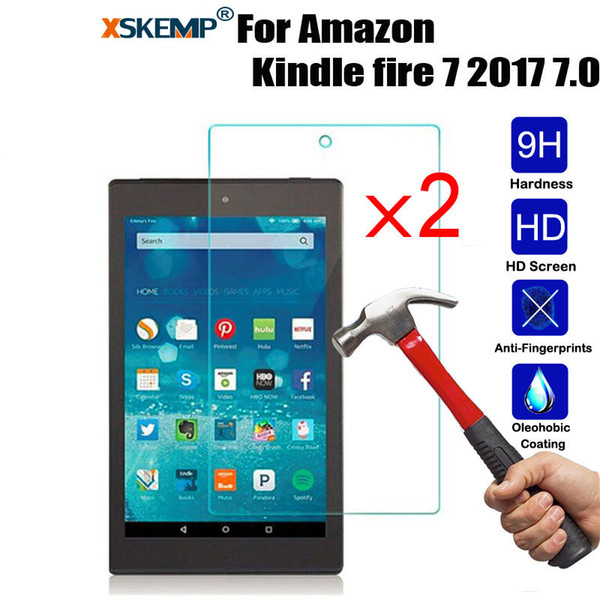 XSKEMP 2Pcs/Lot 9H Hardness Tempered Glass For Amazon Kindle fire 7 2017 7.0 Shockproof Ultra Clear Tablet Screen Protector Film