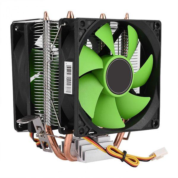 Freeshipping 90mm 3Pin Dual-sided Fan CPU Cooler Heatsink Quiet for Intel LGA775/1156/1155 AMD AM2/AM2+/AM3