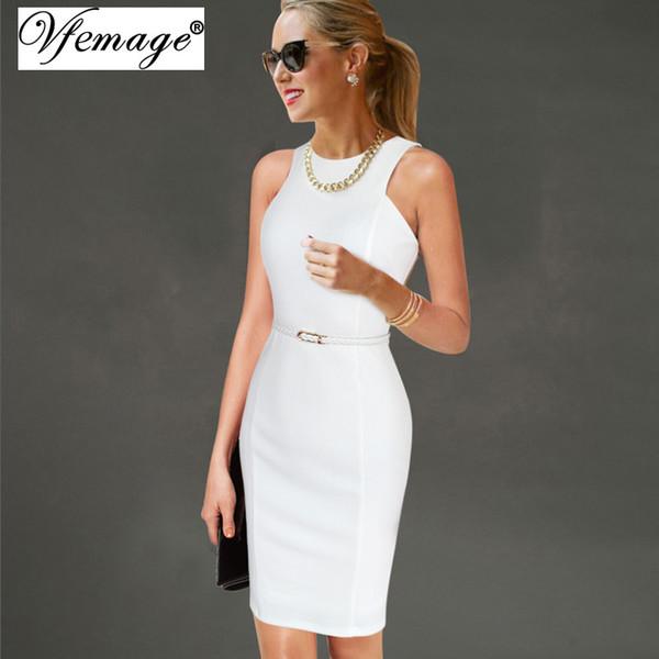Vfemage Womens elegante senza maniche con cintura indossare al lavoro Office Business Party casual estate aderente Slim con matita abito vestito 6406 Y1890703