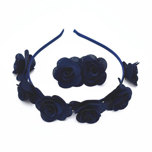 18set 2pcs/Set Lovely Baby Girls Flower Headwear Set Hair Clip Headband Hair Accessories Cute Children Elastic Hairband Ornament Gum FG010