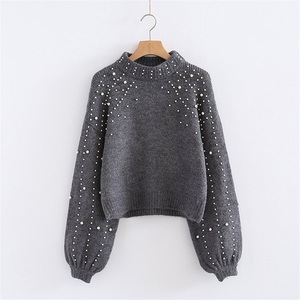 Naiveroo Pearl Turtleneck Winter Knitted Sweater Women Lantern Sleeve Loose Gray Pullover Female Soft Warm Autumn Casual Jumper