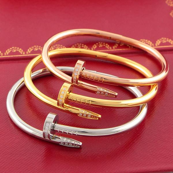 316L titane acier nom de marque ongles punk amoureux femmes et homme bracelet couple bijoux avec coffret d'origine