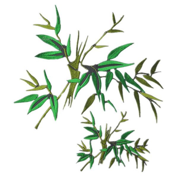 2 Größen Gestickte Grüne Bambus Patch Nähen Eisen Auf Blätter Abzeichen Für Tasche Jeans Hut Appliques DIY Handarbeit Aufkleber Bekleidung Dekoration