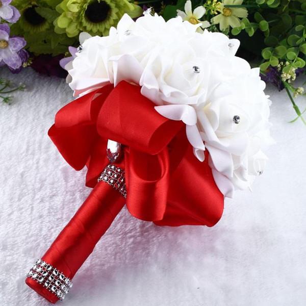Hot Sale!Crystal Roses Pearl Bridesmaid Wedding Bouquet Bridal Artificial Silk Flowers Wedding Decoration Drop shipping feb20