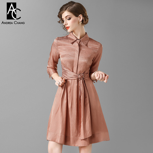 spring autumn woman dress three quarter sleeve dark blue pink dress with belt sash fashion casual office lady above knee