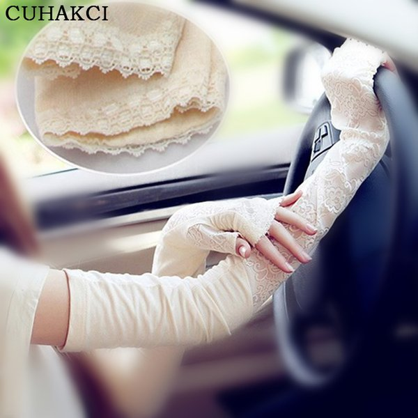CUHAKCI Sunscreen Long Gloves Mujeres Blanco Opera Arm Guantes Modal Lace Mittens Black Grey Warm Casual Casual